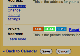 Private ICAL Link